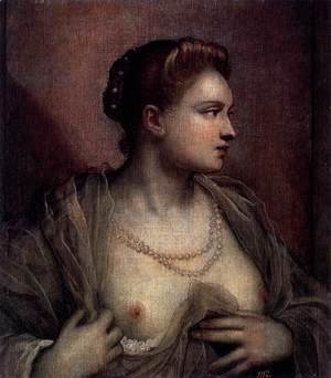 Jacopo Tintoretto (Robusti) - Portrait of a Woman Revealing her Breasts c. 1570