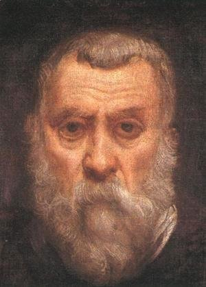 Jacopo Tintoretto (Robusti) - Self-portrait (detail) c. 1588