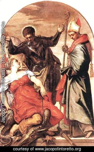 Jacopo Tintoretto (Robusti) - St Louis, St George and the Princess c. 1553