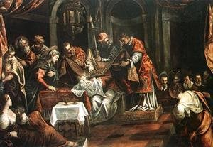 Jacopo Tintoretto (Robusti) - The Circumcision c. 1587