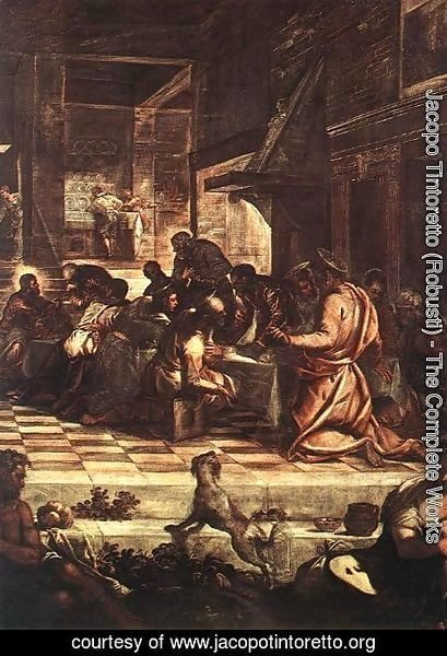 Jacopo Tintoretto (Robusti) - The Last Supper (detail) 1578-81