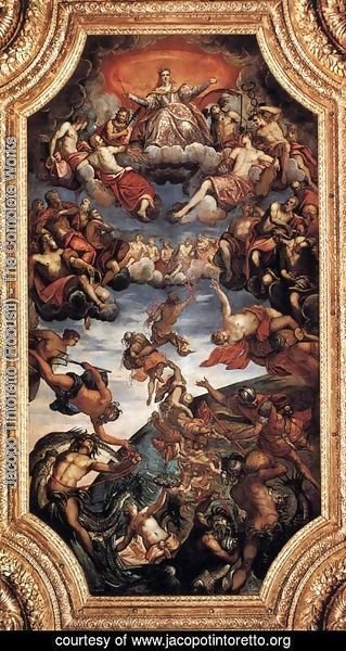Jacopo Tintoretto (Robusti) - The Triumph of Venice, ceiling painting in the Sala del Senato