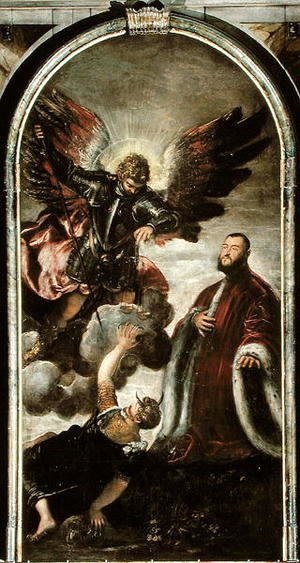 Jacopo Tintoretto (Robusti) - Archangel Michael vanqishing Lucifer in the presence of a Venetian senator