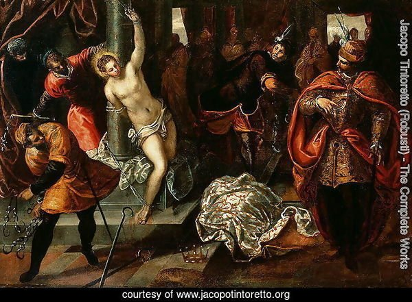 Saint Catherine of Alexandria being whipped in the presence of Emperor Maxentius