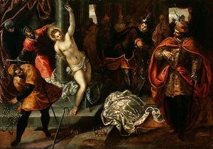 Jacopo Tintoretto (Robusti) - Saint Catherine of Alexandria being whipped in the presence of Emperor Maxentius