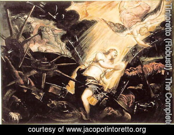 Jacopo Tintoretto (Robusti) - St. Catherine endures the torture of the wheel
