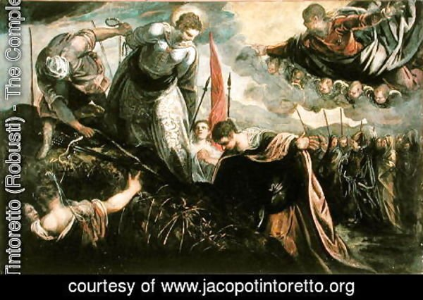 Jacopo Tintoretto (Robusti) - Saint Catherine prepares for her exexcution