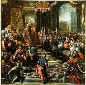 Jacopo Tintoretto (Robusti) - The Envoy of Pope Alexander III 1105-81 and Doge Sebastiano Ziani d.1178 with Emperor Frederick Barbarossa 1122-90