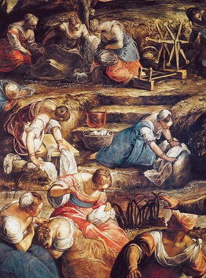 The Miraculous Fall of Manna, detail of women workin