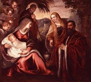 Jacopo Tintoretto (Robusti) - Holy Family with Matteo Saranzo