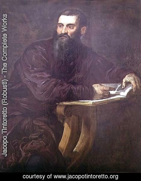 Jacopo Tintoretto (Robusti) - Portrait of a Bearded Man with a Book