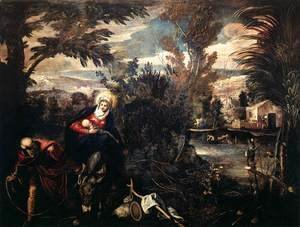 Jacopo Tintoretto (Robusti) - The Flight into Egypt, c.1575-77