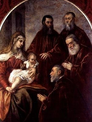 Jacopo Tintoretto (Robusti) - Madonna and child with four Statesmen