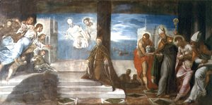 Jacopo Tintoretto (Robusti) - Doge Alvise Mocenigo d.1577 presented to the Redeemer, c.1577