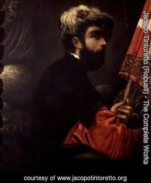 Jacopo Tintoretto (Robusti) - Portrait of a Man as Saint George, c.1540-50