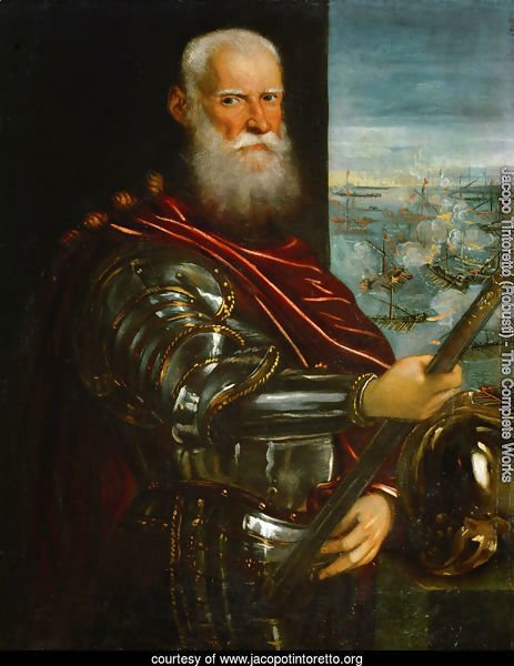 Portrait of Sebastiano Vernier d.1578 Commander-in-Chief of the Venetian forces in the war against the Ottoman Empire with the battle of Lepanto in the background, c.1571