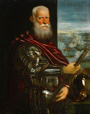 Jacopo Tintoretto (Robusti) - Portrait of Sebastiano Vernier d.1578 Commander-in-Chief of the Venetian forces in the war against the Ottoman Empire with the battle of Lepanto in the background, c.1571