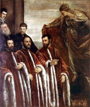 Jacopo Tintoretto (Robusti) - St. Giustina and the Treasurers of Venice, 1580