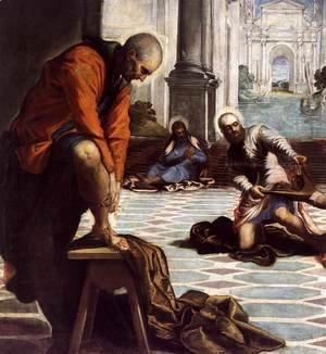 Jacopo Tintoretto (Robusti) - Christ Washing His Disciples' Feet (detail 3)