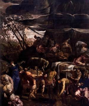 Jacopo Tintoretto (Robusti) - Moses Receiving the Tables of the Law (detail 2)