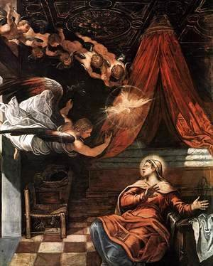 Jacopo Tintoretto (Robusti) - The Annunciation (detail)