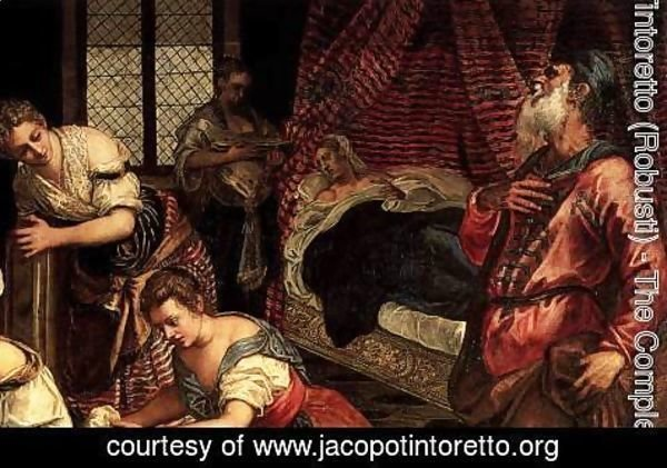 Jacopo Tintoretto (Robusti) - The Birth of John the Baptist (detail 1)