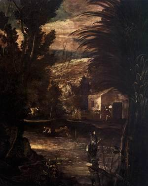 Jacopo Tintoretto (Robusti) - The Flight into Egypt (detail 1)