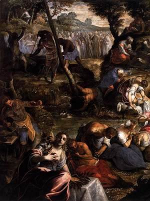 Jacopo Tintoretto (Robusti) - The Jews in the Desert (detail 1)