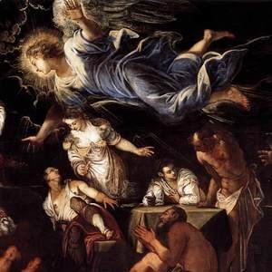 Jacopo Tintoretto (Robusti) - St Roch in Prison Visited by an Angel (detail) 2