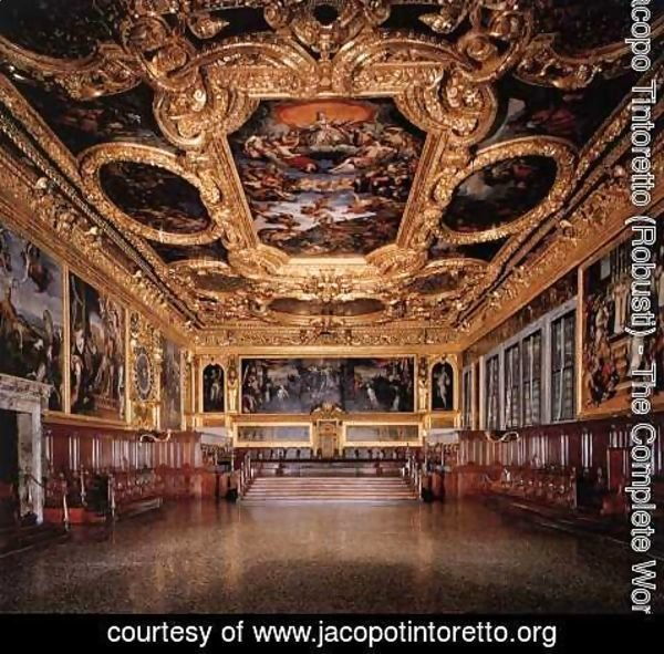 Jacopo Tintoretto (Robusti) - View of the Hall of the Senate