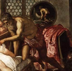 Jacopo Tintoretto (Robusti) - Venus, Mars, and Vulcan (detail)