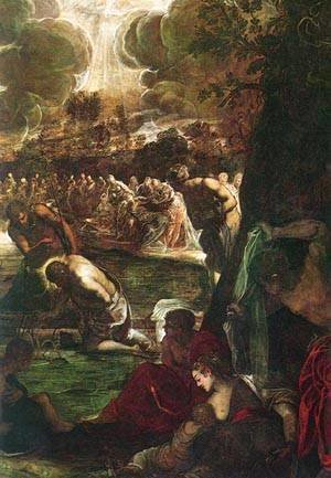 Jacopo Tintoretto (Robusti) - Baptism Of Christ Detail 1579-81