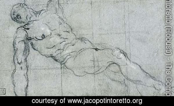 A reclining nude with arms outstretched