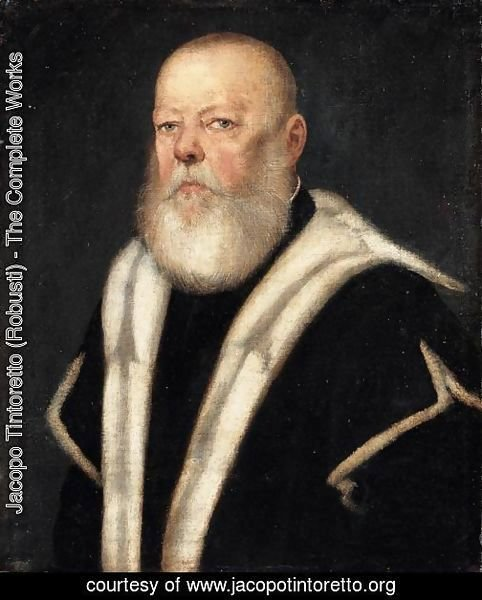 Portrait Of A Bearded Gentleman, Head And Shoulders, Wearing An Ermine-Lined Black Coat