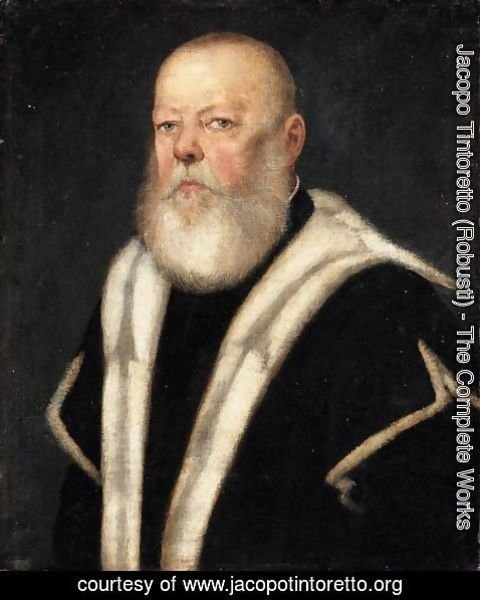 Jacopo Tintoretto (Robusti) - Portrait Of A Bearded Gentleman, Head And Shoulders, Wearing An Ermine-Lined Black Coat