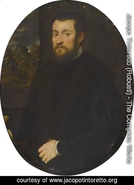 Jacopo Tintoretto (Robusti) - Portrait Of A Gentleman, Half Length, Before An Open Window
