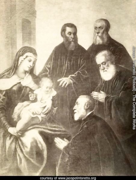 The Virgin and Child with four senators
