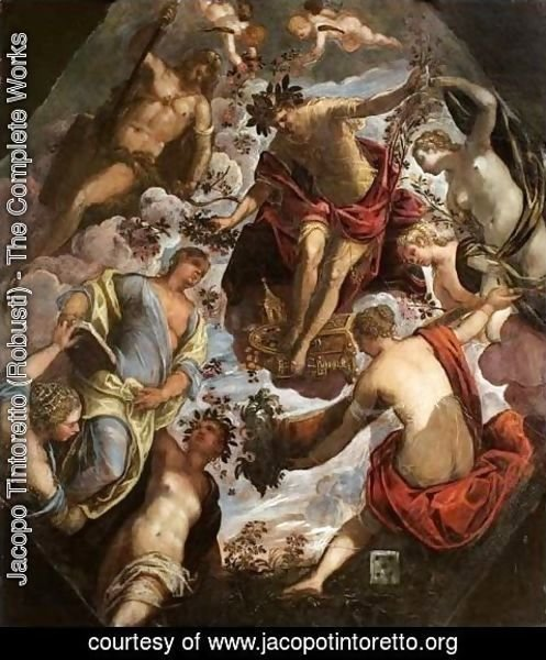 Jacopo Tintoretto (Robusti) - Apollo (possibly Hymen) crowning a Poet and giving him a Spouse
