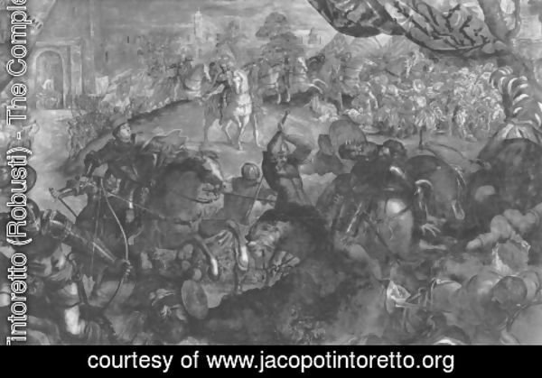 Jacopo Tintoretto (Robusti) - Federico I. Gonzaga, the city of Legnano