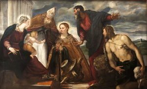 Jacopo Tintoretto (Robusti) - Virgin and Child with Saint Catherine, Saint Augustine, Saint Marc and Saint John the Baptist